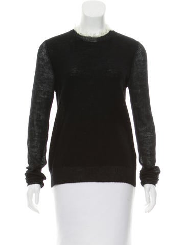 Céline Wool Keyhole-Accented Top None