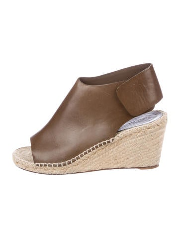 Céline Leather Espadrille Wedges None
