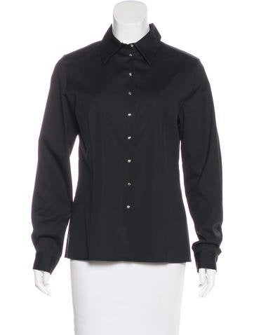 Céline Button-Up Long Sleeve Top None