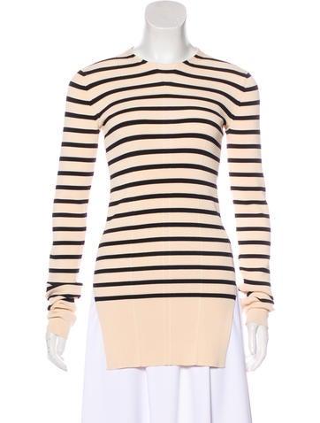 Céline Striped Rib Knit Sweater None