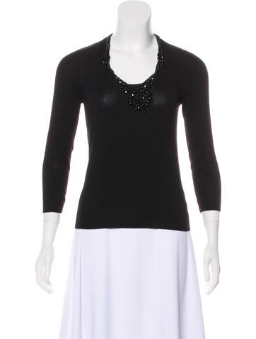 Céline Embellished Cashmere Sweater None