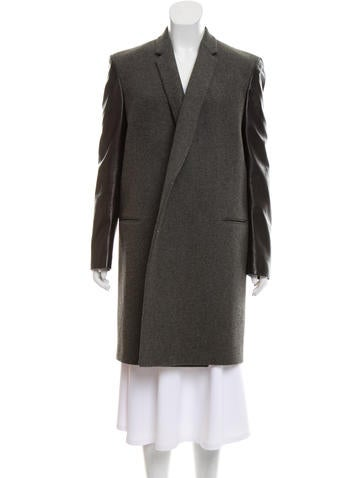 Céline Leather-Trimmed Wool Coat None