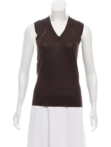 Céline Sleeveless Knit Sweater None