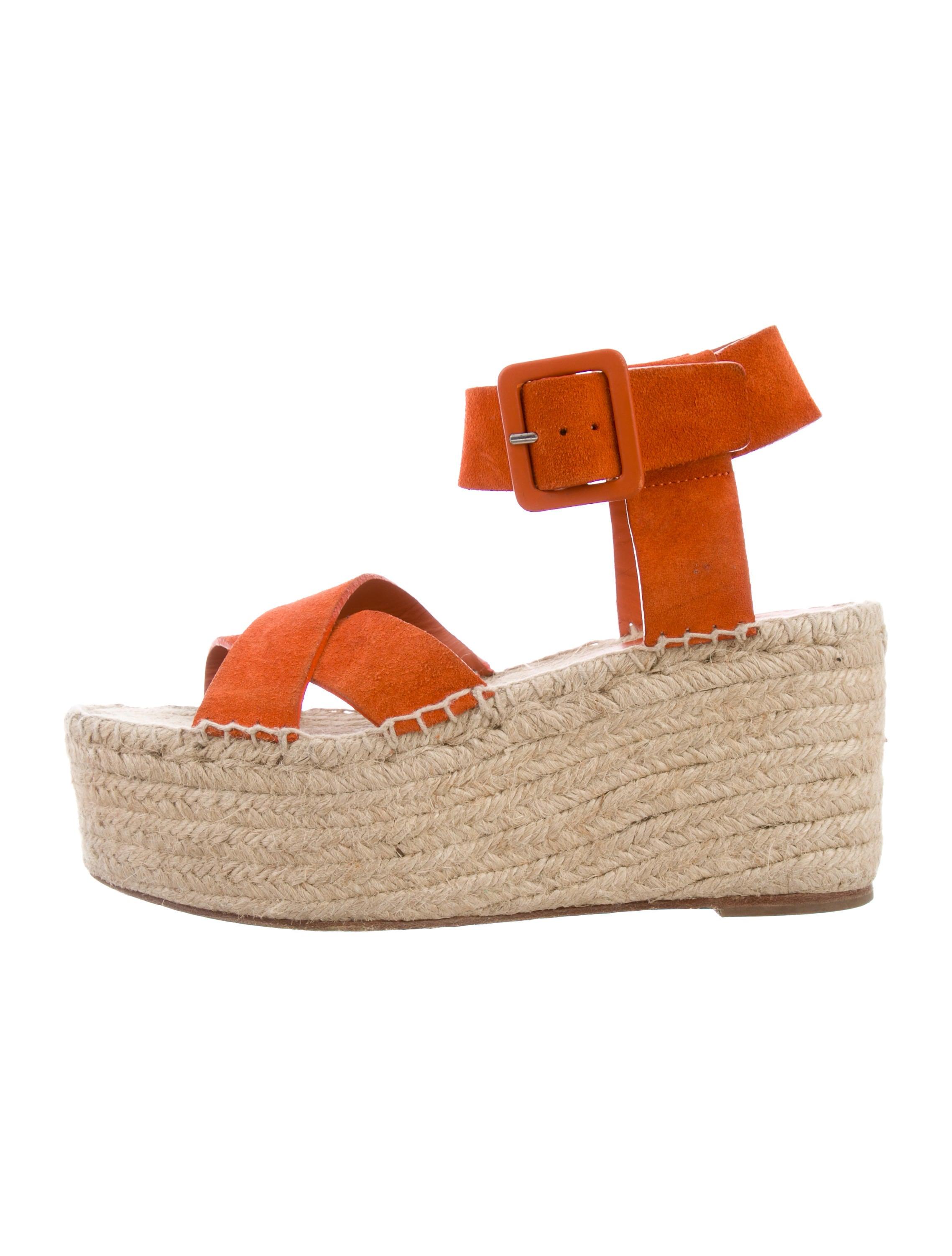Orange 100% Original Céline Ankle Strap Espadrille Wedges view cheap price sale best prices 49eD0QB