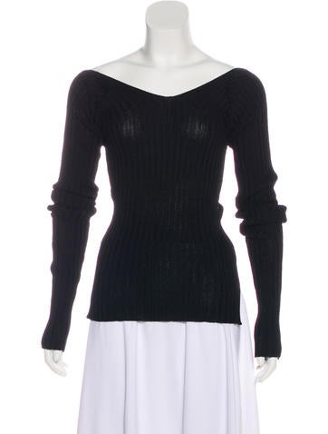 Céline Long Sleeve Rib Knit Sweater w/ Tags None