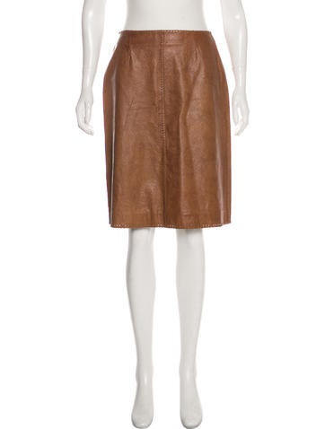 274a1ab678e7 Céline. Embossed Leather Skirt