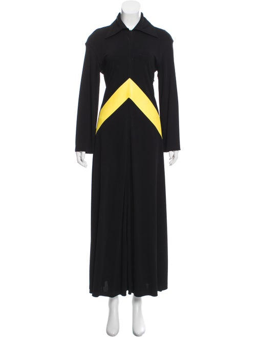 394c61ea808 Celine Spread Collar Leather Trim Maxi Dress - Clothing - CEL87528 ...
