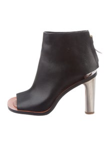 da3223dae63 Celine. Leather Peep-Toe Booties