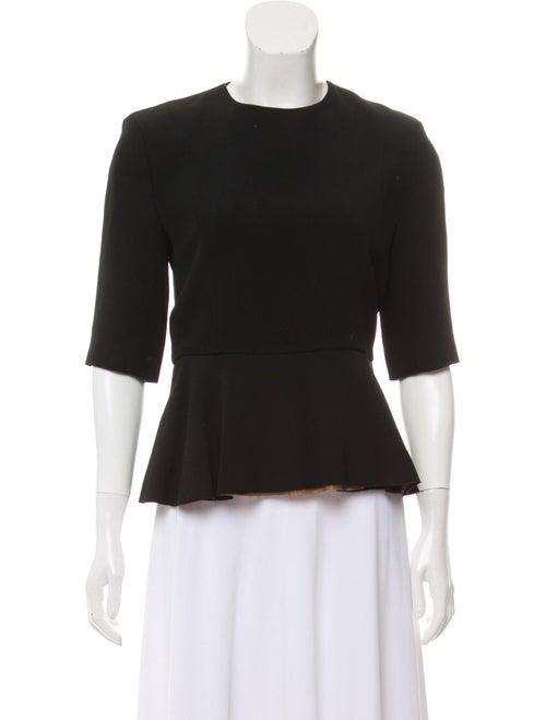 Céline Short Sleeve Peplum Top Black