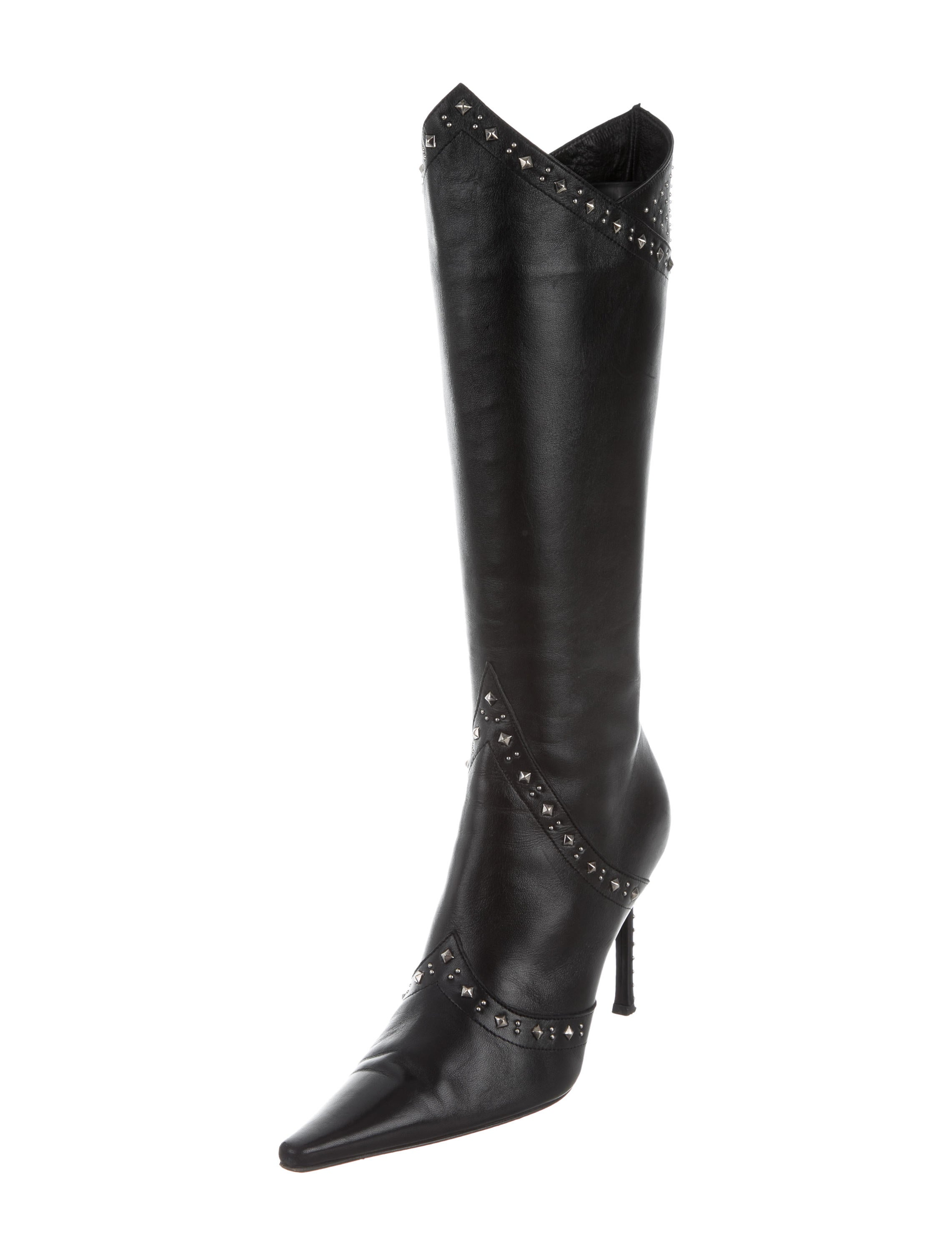 cesare paciotti studded knee high boots shoes ces20332