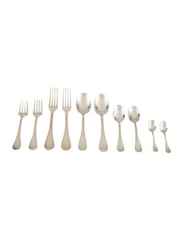 Christofle 14-Piece Sterling Perles Partial Flatware Set None