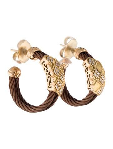 Charriol Diamond Celtique Hoop Earrings