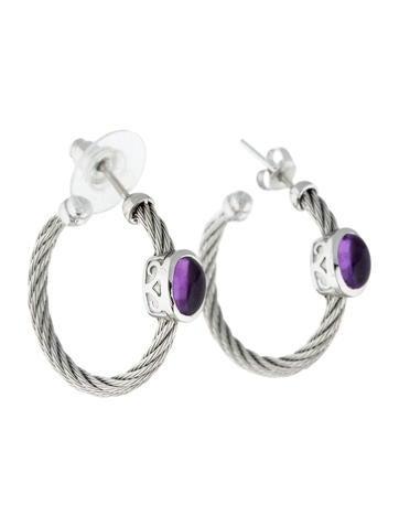 Charriol ALOR Amethyst Cable Hoop Earrings