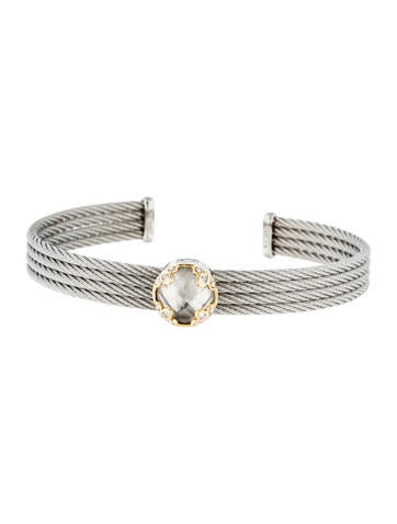Charriol White Topaz & Diamond 4-Row Cable Cuff