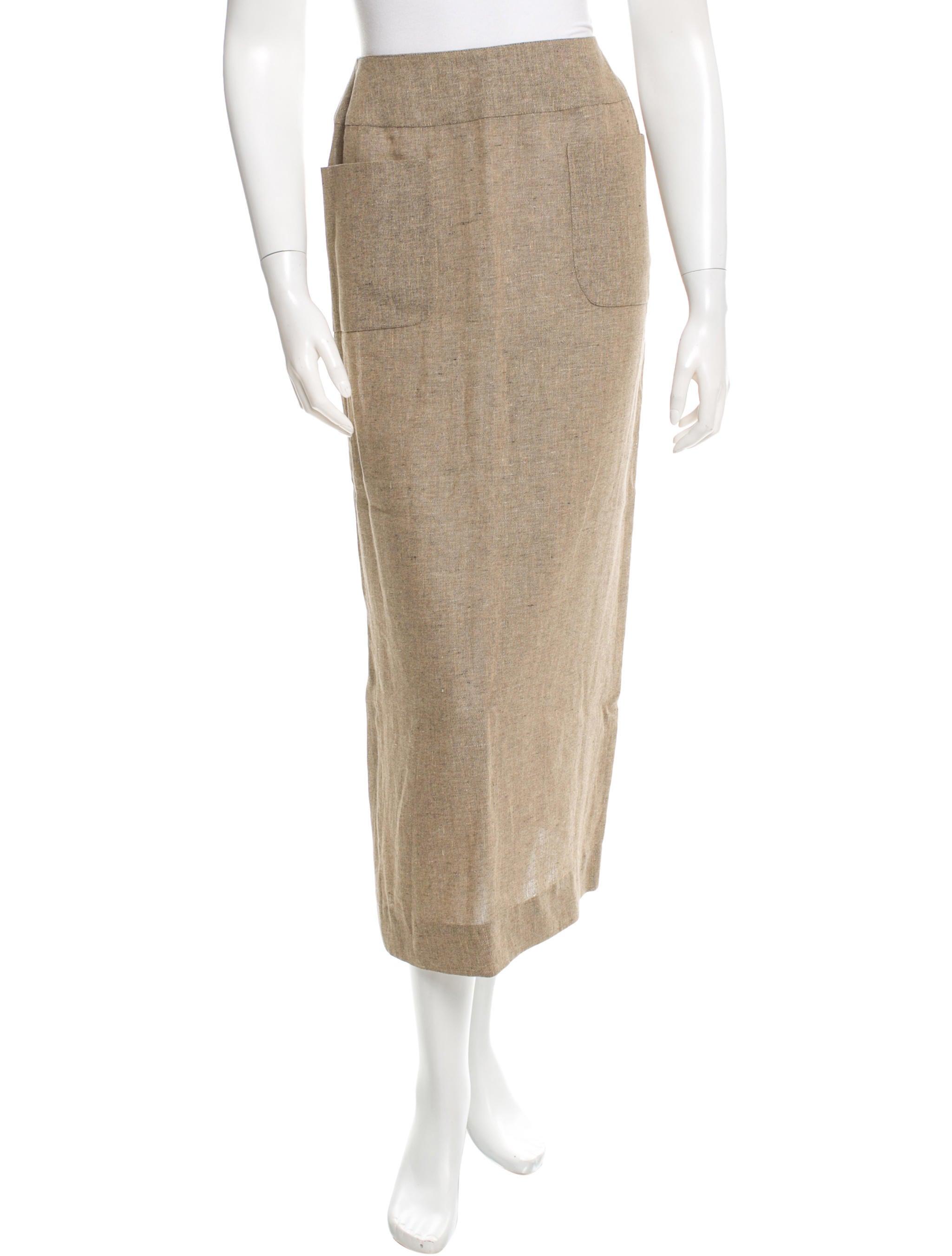 chanel beige midi skirt clothing cha101882 the realreal