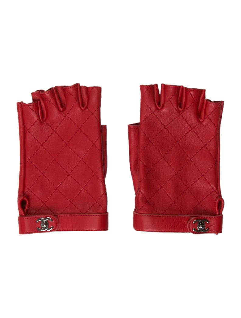 Chanel Quilted CC Fingerless Gloves - Accessories ...