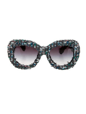 Chanel Tweed Oversize Sunglasses w/ Tags None