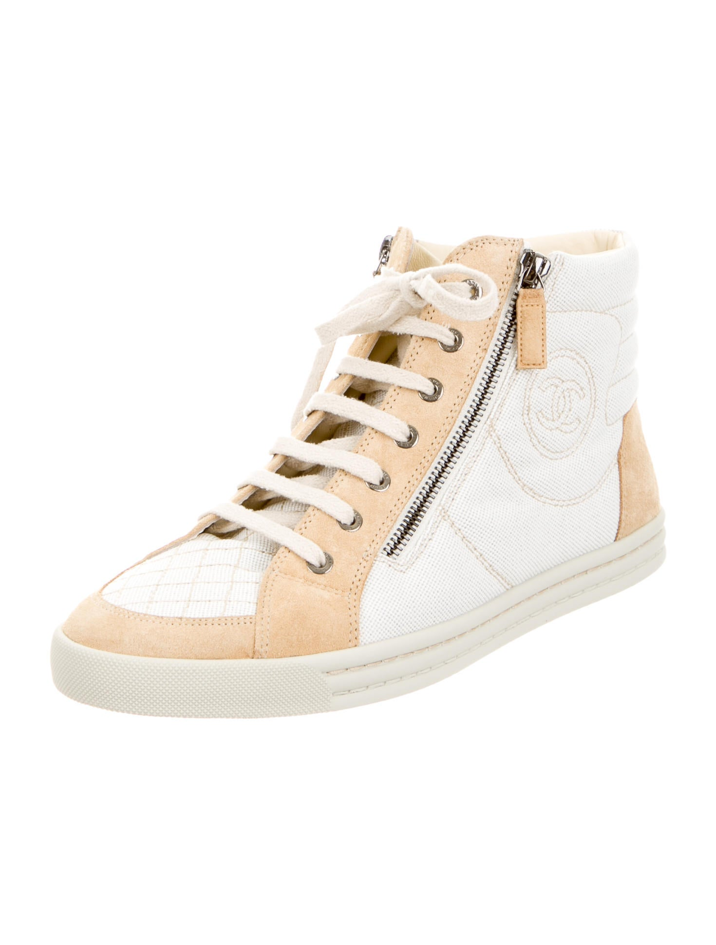 chanel canvas high top sneakers w tags shoes