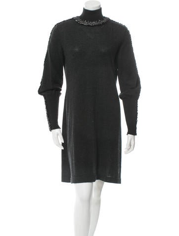 Chanel Embellished Cashmere Knit Dress None