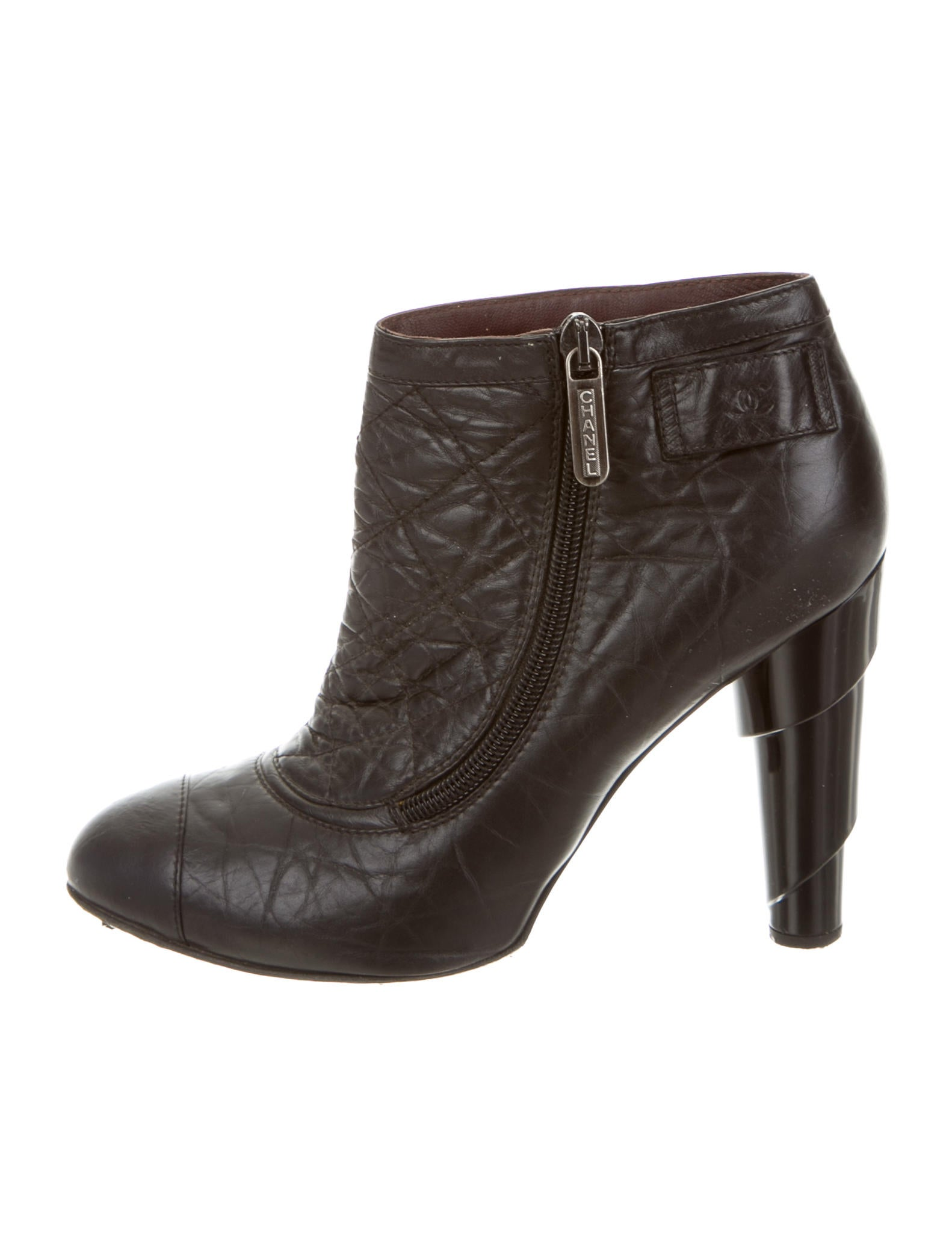 chanel quilted ankle boots shoes cha103933 the realreal