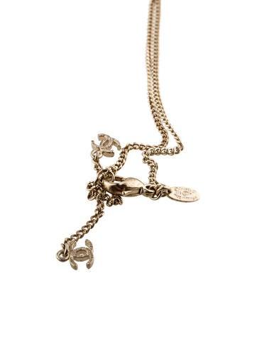 Crystal & Enamel Reversible CC Pendant Necklace