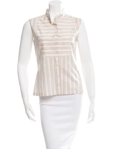 Chanel Striped Silk Top None