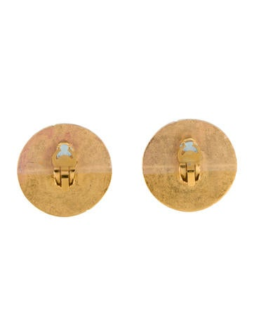 Textured Logo Disc Clip-On Earrings