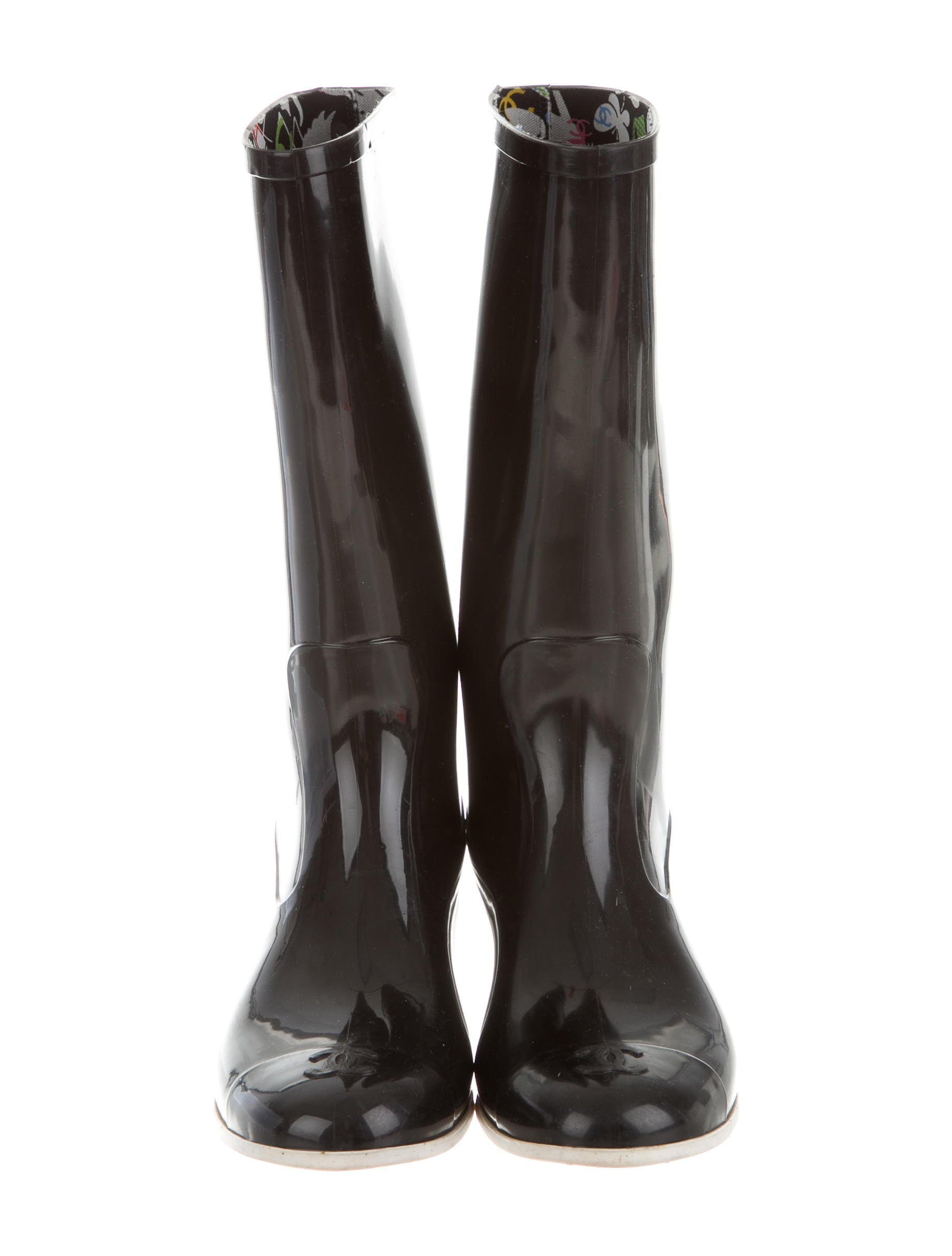 chanel rubber boots shoes cha112149 the realreal