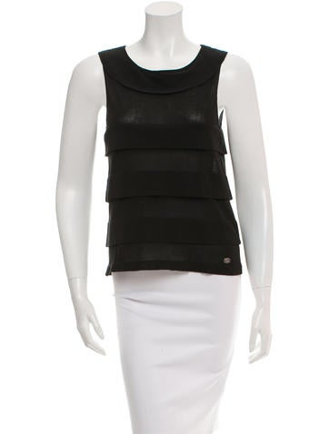 Chanel Sleeveless Tier-Accented Top None