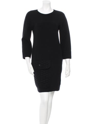 Chanel Cashmere Three-Quarter Sleeve Dress None
