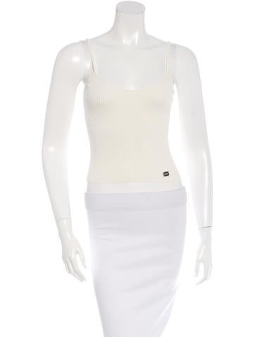 Chanel Rib Knit Crop Top None