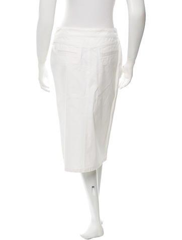 chanel denim knee length skirt clothing cha115715