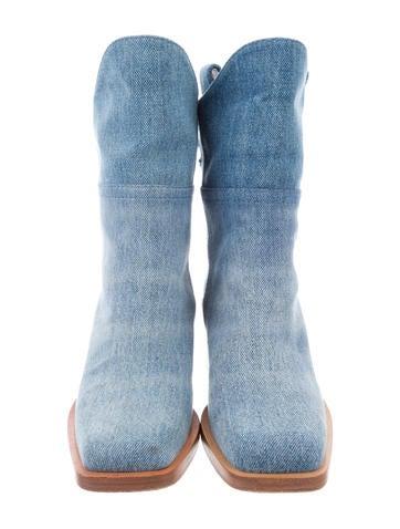 Denim Square-Toe Booties