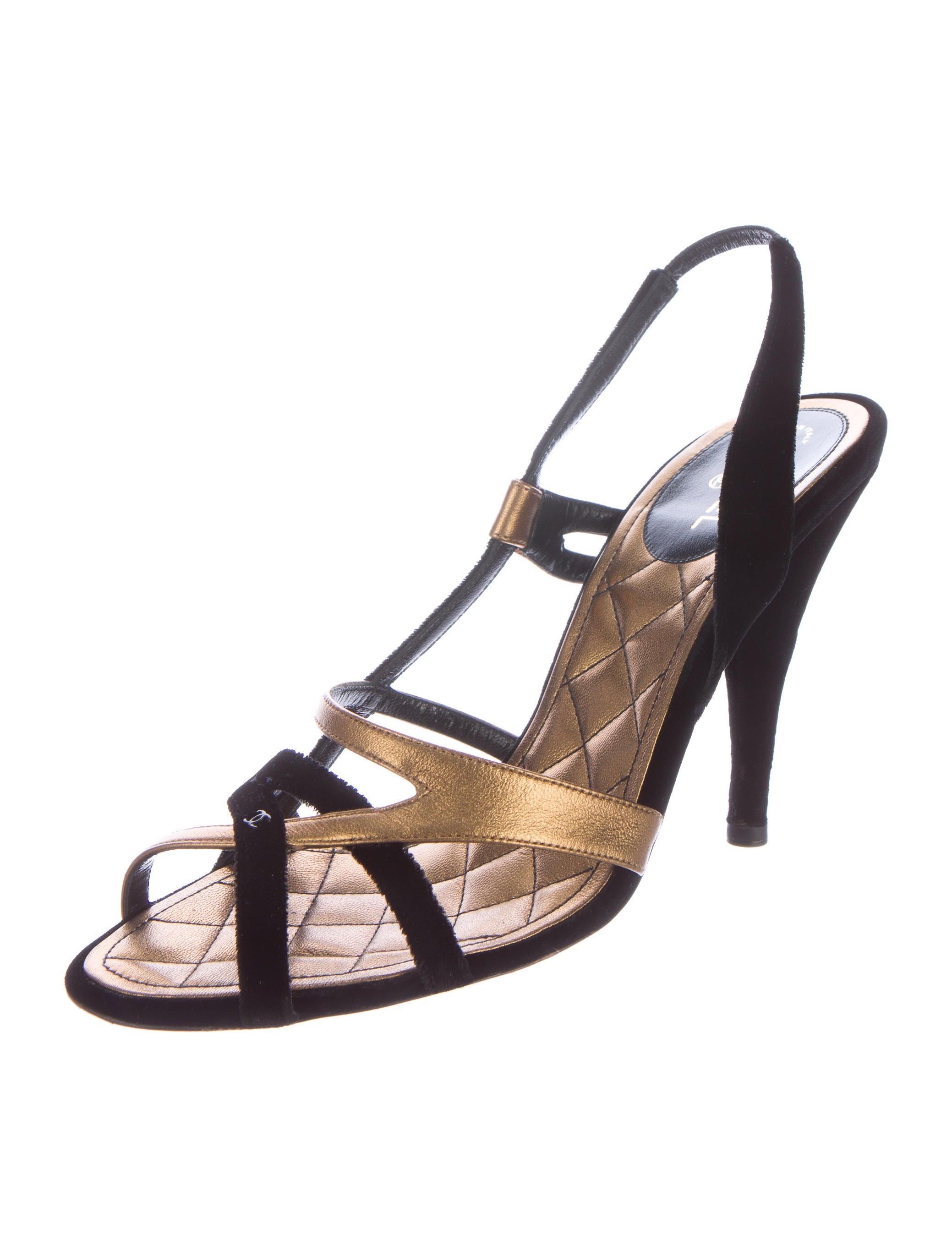 Chanel Velvet Slingback Sandals Shoes Cha117682 The