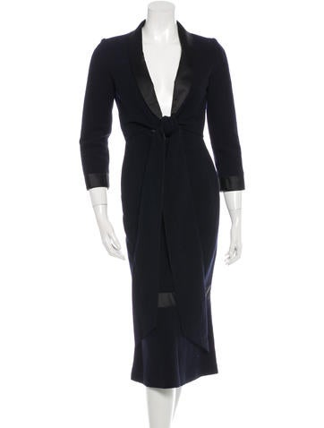 Chanel Silk-Accented Wool Dress None