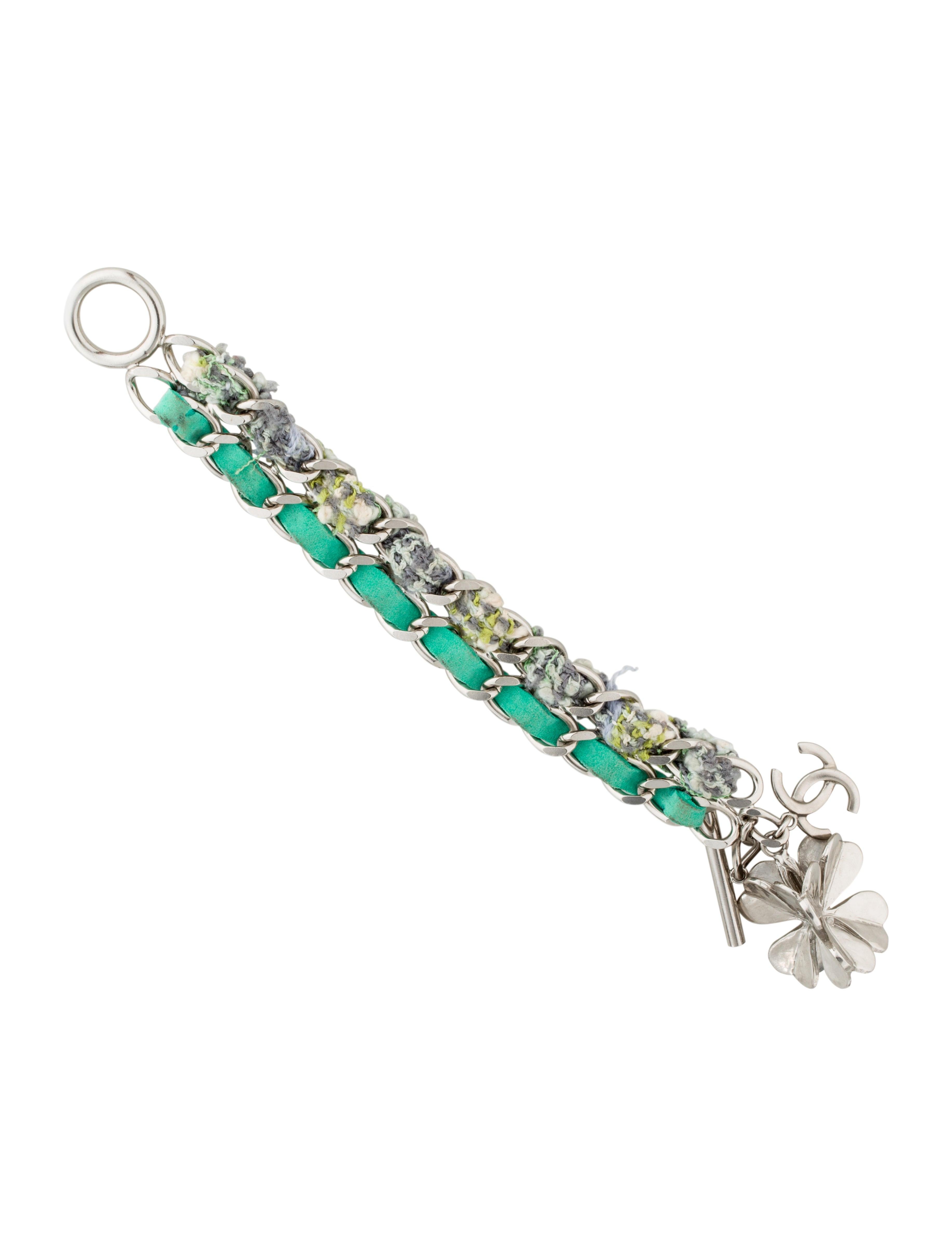 chanel interwoven four leaf clover charm bracelet