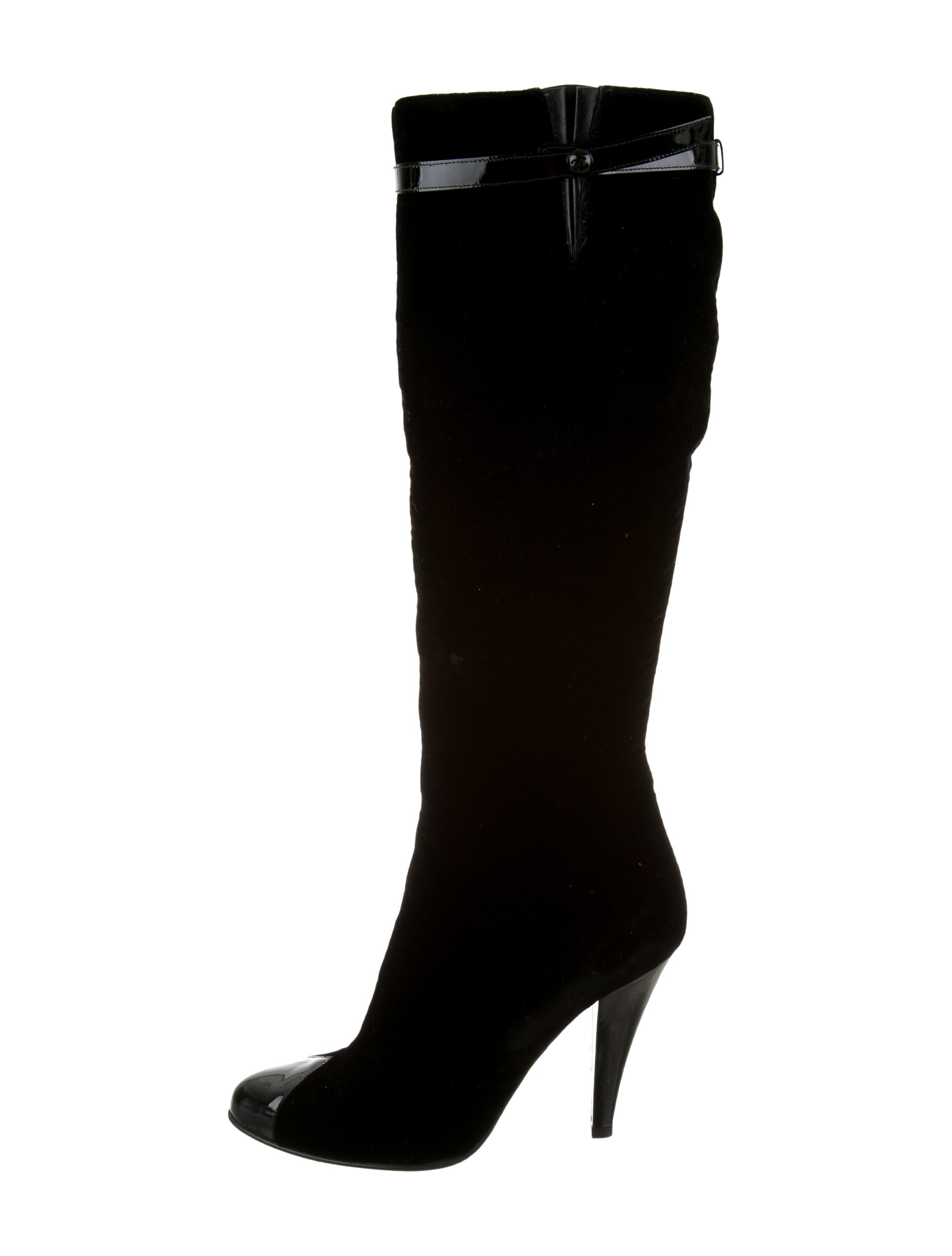 chanel velvet knee high boots shoes cha120354 the