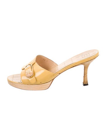 Chanel Patent Leather Slide Sandals None