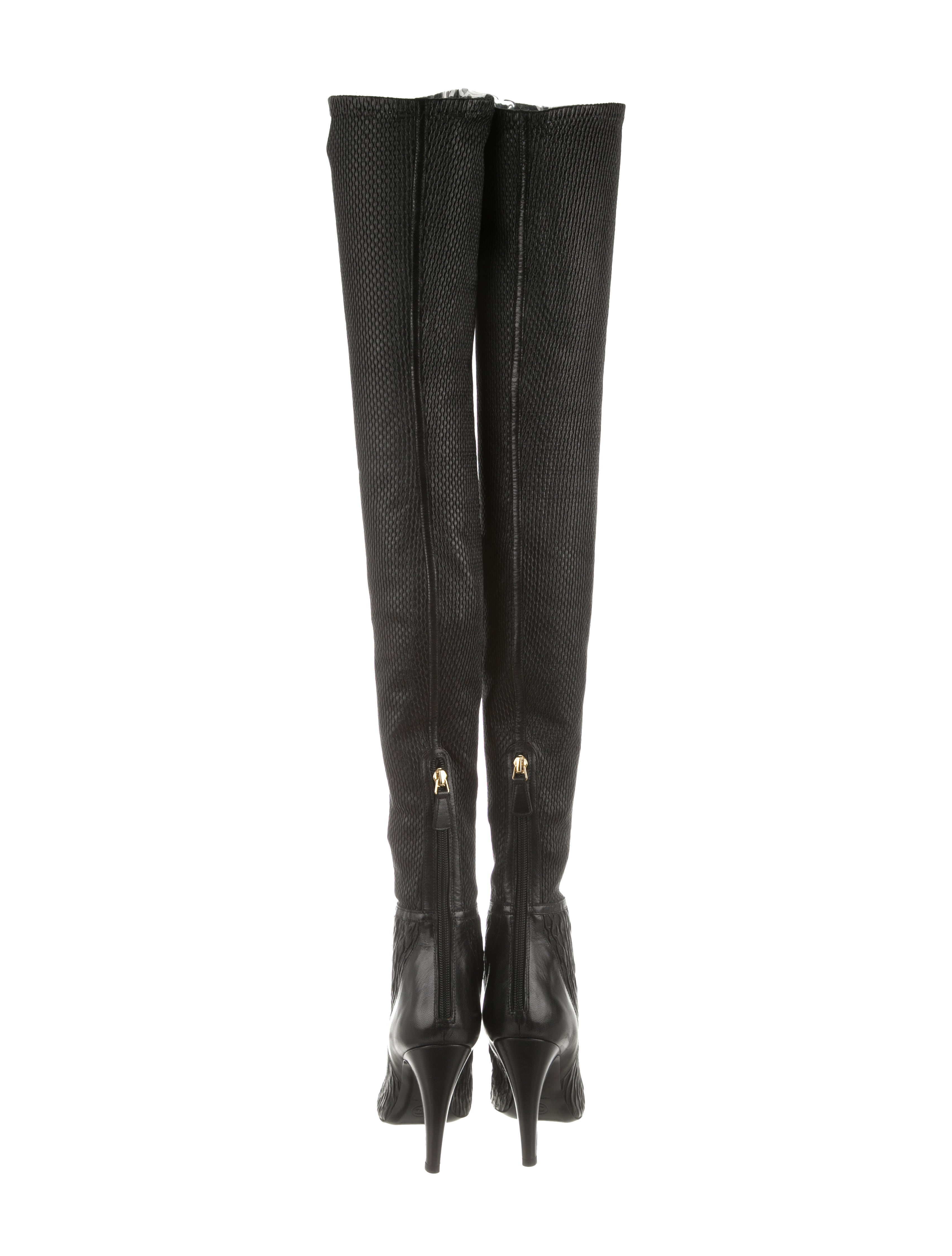 chanel leather thigh high boots shoes cha121298 the