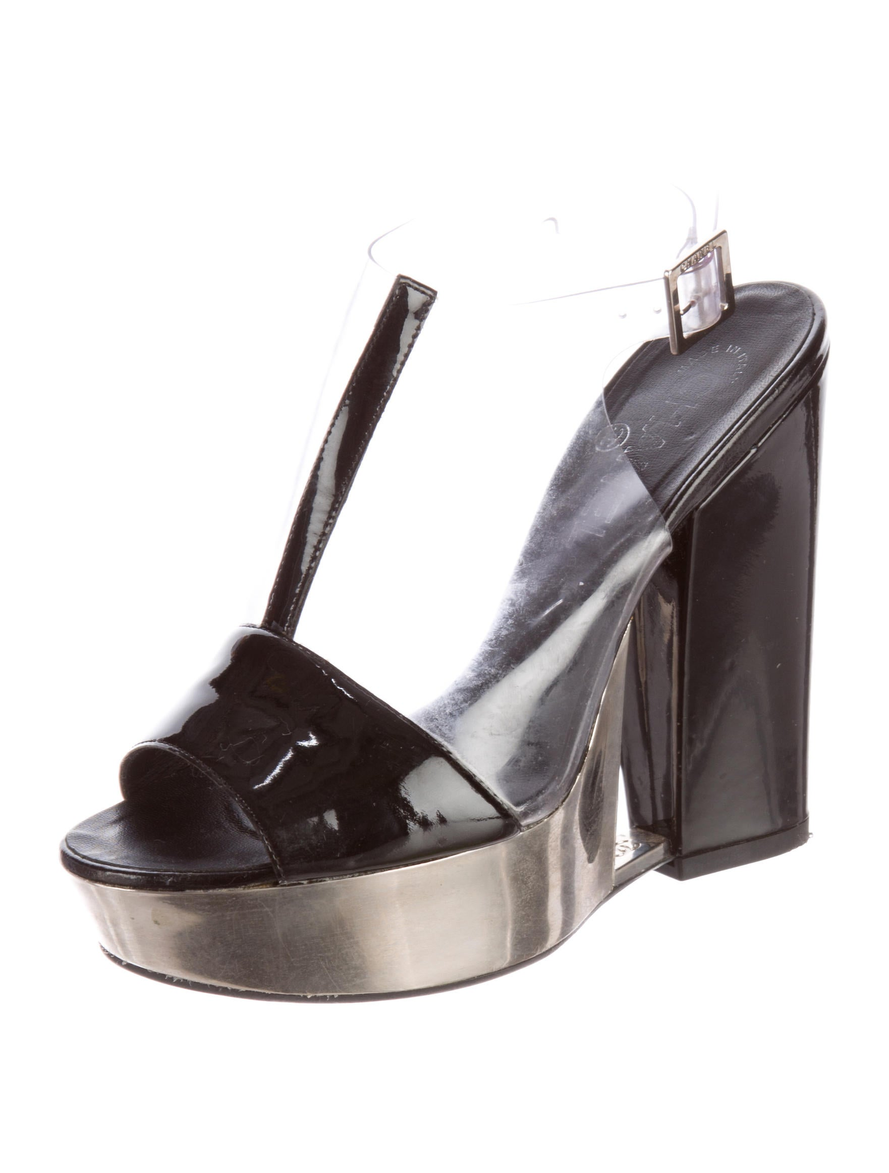 chanel pvc platform sandals shoes cha121427 the realreal
