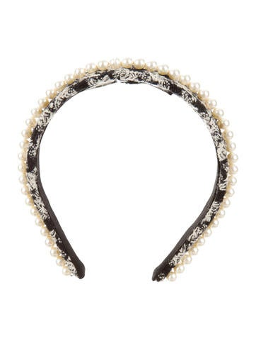 Pearl-Embellished Tweed Headband w/ Tags