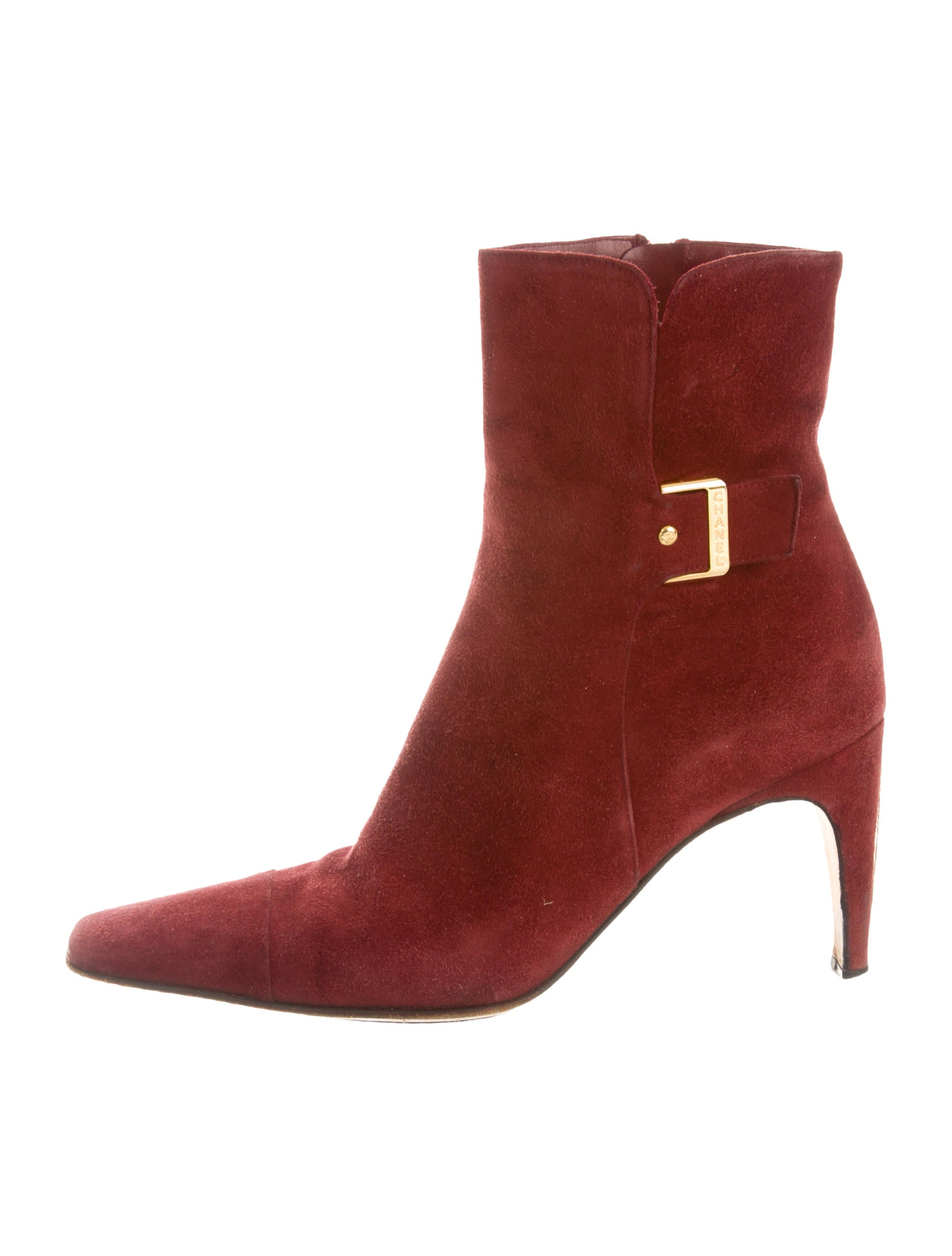 chanel suede buckle embellished ankle boots shoes