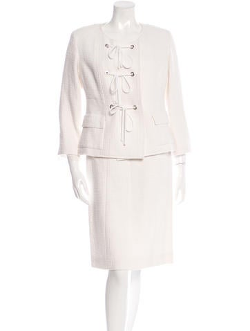 Chanel Lace-Up Tweed Skirt Suit