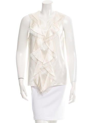 Chanel Silk Fringe Top None