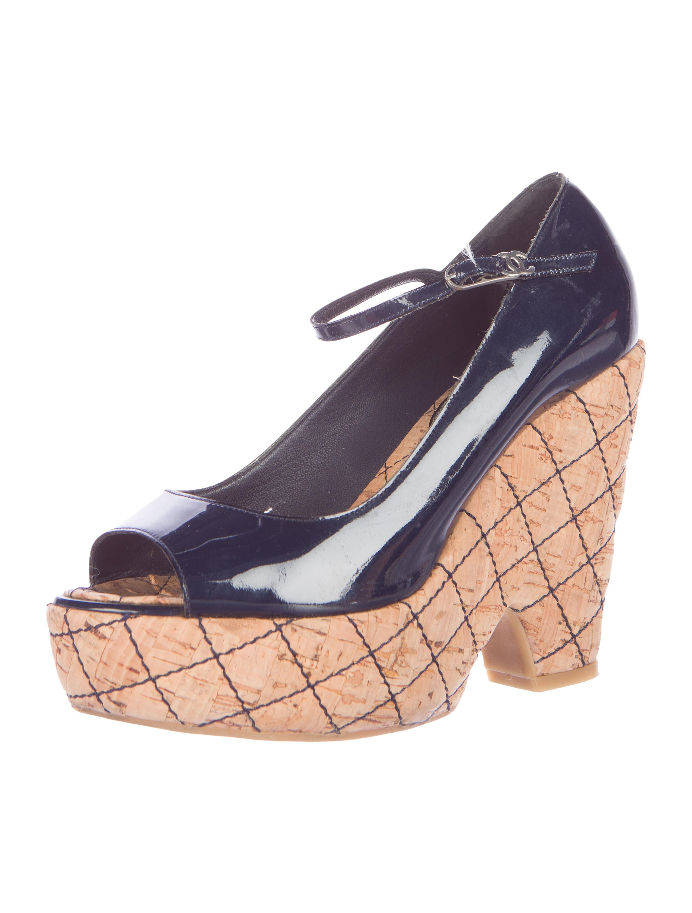 chanel quilted peep toe wedges shoes cha125019 the