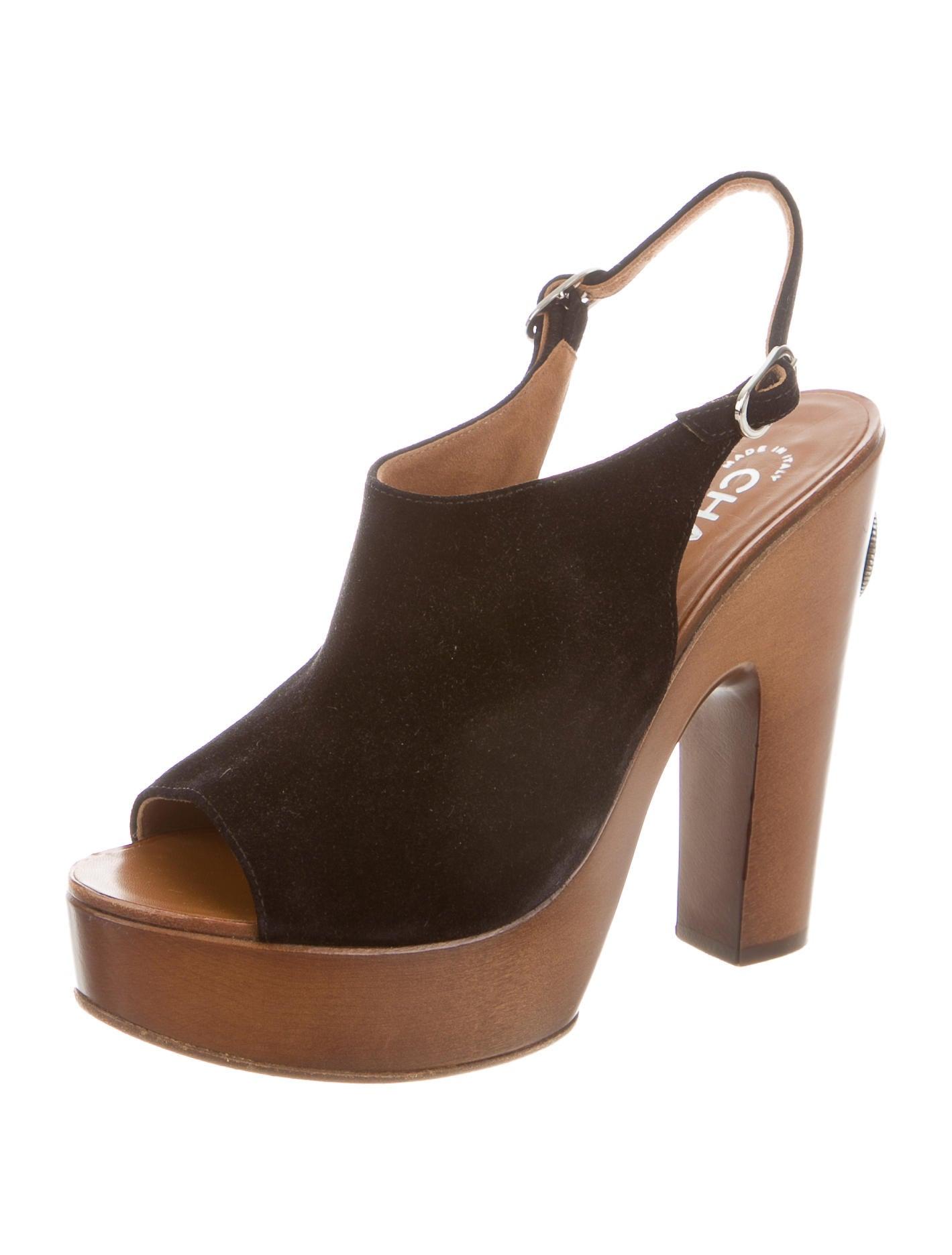 chanel suede platform sandals shoes cha125027 the