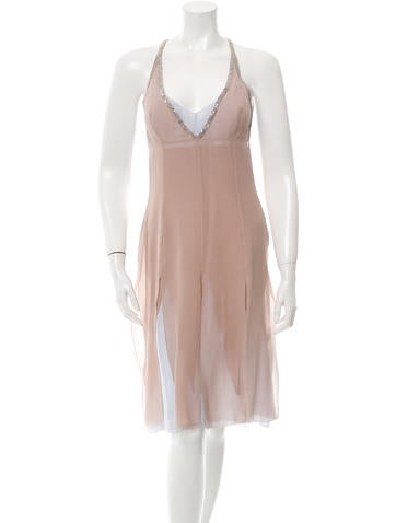 Embellished Silk Chiffon Dress