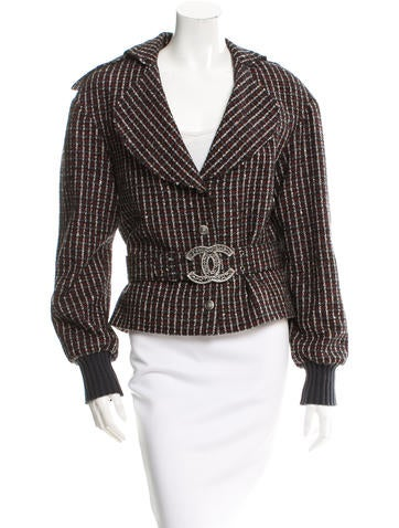 Chanel Belted Wool-Blend Jacket None