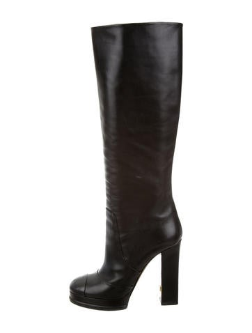 Chanel Leather Knee-High Platform Boots