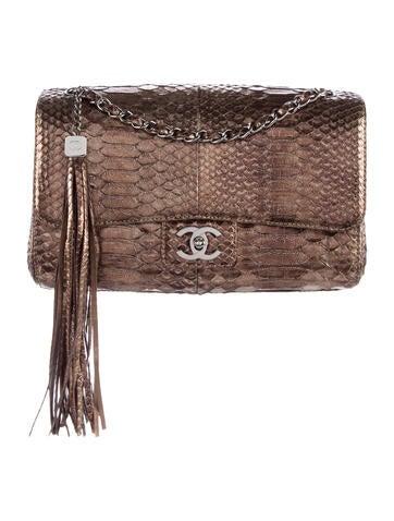 Python Medium Soho Tassel Flap Bag